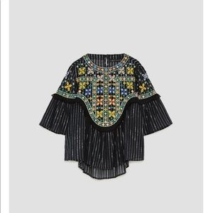 ZARA- FLOWING EMBROIDERED BLOUSE